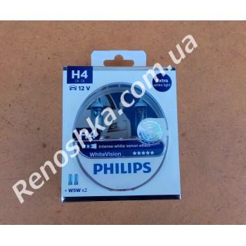Лампа накаливания H4 ( для фар ближнего и дальнего света ) PHILIPS, 60/55w ( комплект 2 лампы + 2 лампочки габаритных огней W5W blue vision ) эффект ксенона 4300к! для RENAULT LOGAN