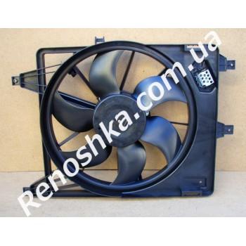 Вентилятор охлаждения в сборе ( на автомобили с кондиционером ) на радиатор с защелками! для RENAULT LOGAN